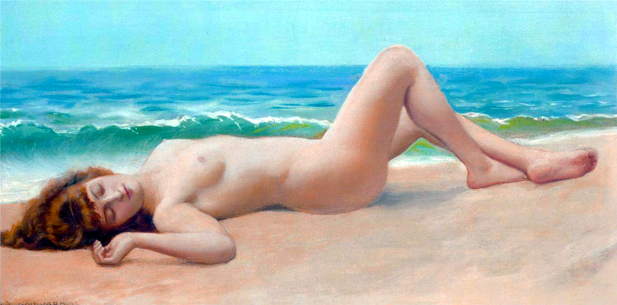 Nude women painted on beach