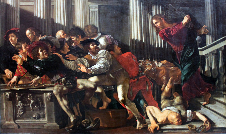 Christ expulses the money changers out of the temple by Cecco del Caravaggio (1610)