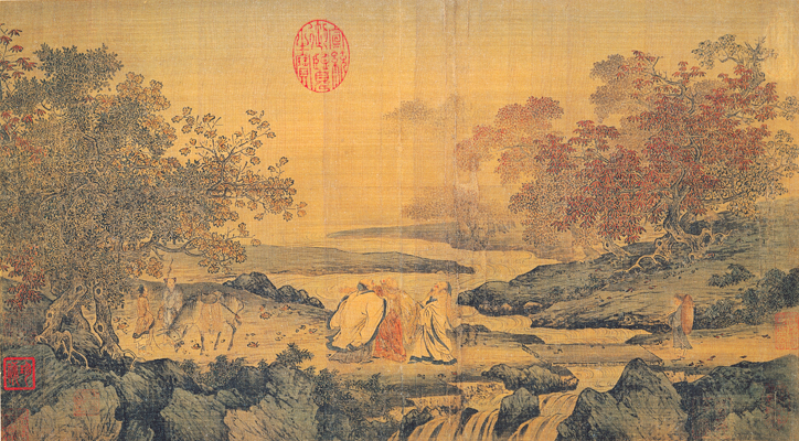 "Song Dynasty painting in the Litang style illustrating the theme ""Confucianism, Taoism and Buddhism are one"". Depicts Taoist Lu Xiujing (left), official Tao Yuanming (right) and Buddhist monk Huiyuan (center, founder of Pure Land) by the Tiger stream."